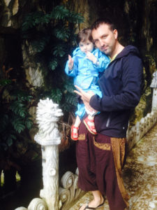 Entrance of Marble Mountain: Bert a& Gaia next to the Dragon- Their birth animal in the Zodiac
